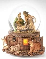 5.75″ Musical Lighted Holy Family Glitterdome