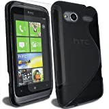 S Line - TPU Silicone Gel Mobile Phone Case Cover Cover For HTC Radar C110 + Clear Screen Film Protector Proctector / Black