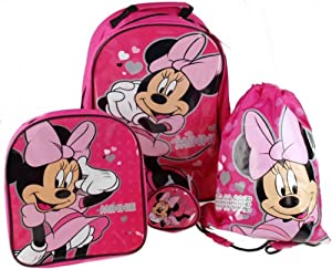 Minnie Mouse 4 Piece Childrens Luggage Set Trolley Suitcase Swimbag Wallet Backpack Set by trademark collections