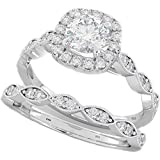 Ladies Ring - Halo Design 2 Piece Round Cut Genuine 925 Sterling Silver Luxury Unique Wedding Engagement Bridal Ring Set