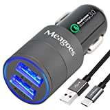 Meagoes Fast USB C Car Charger, Quick Charge 3.0 Enabled, with 1-Pack 3.3ft Type C Cord for Samsung Galaxy S9/S9+/S8/S8 Plus/Note 8, LG V30/V20/G7 ThinQ/G6, HTC 10/U11/Bolt/U Ultra More - Grey (Color: Gray, QC3.0+3A Outputs)