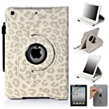 E-LV 360 Degrees Rotating Stand Luxury Leopard Design PU Leather Case for Apple New iPad Mini with Automatic Wake and Sleep function+1 Black Stylus, 1 Screen Protector and E-LV Microfiber Sticker Digital Cleaner (White, iPad Mini)