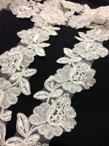 Read About Ivory, Beaded, Corded, and Sequined Flower Trim, 2 Yards