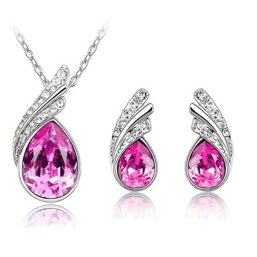 Stylish Jewellery Set Rose Pink Crystal Wings Studs Earrings & Necklace S219