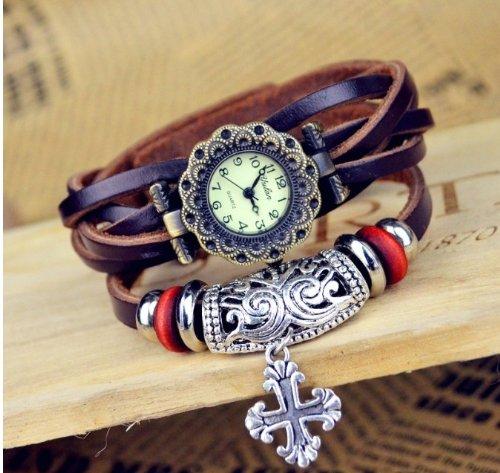 Kano Bak(Tm) Fashion Weave Wrap Around Press Button Leather Retro Bracelet Woman Girl Unisex Lucky Cross Wrist Nice Gift Watch