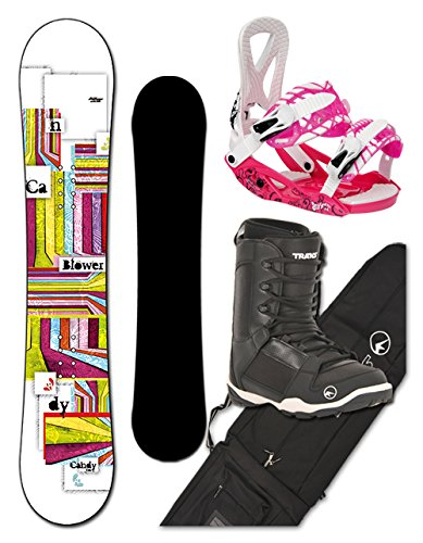 BLOWER Snowboard Set CANDY girl 156cm white + Trick pink + Boots + Bag
