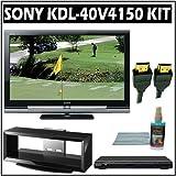 Sony Bravia V-Series KDL-40V4150 40-inch 1080P LCD HDTV + Sony DVD Player w/ TV Stand Accessory Kit