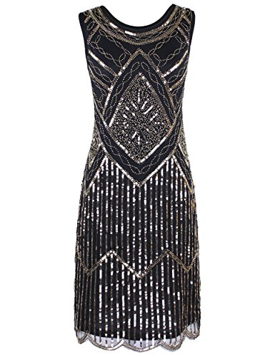 PrettyGuide Women's Elegant 1920s Sequin Beaded Double Side Scalloped Hem Flapper Dress L Gold