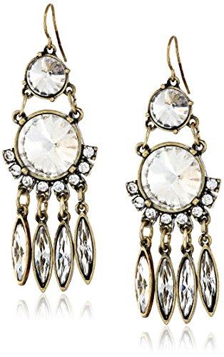 Panacea Antique Gold Crystal Chandelier Drop Earrings