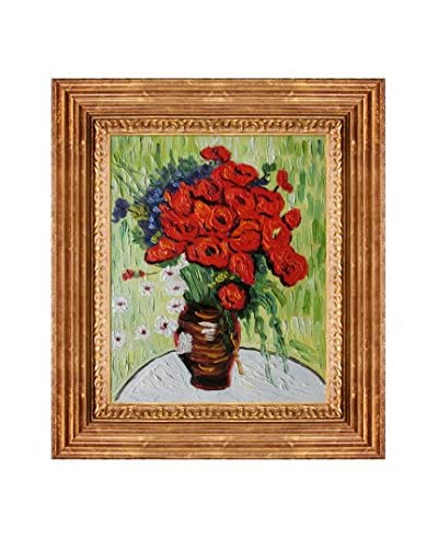 Vincent van Gogh Vase With Daisies And Poppies Framed Hand-Painted Oil Reproduction
