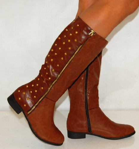 Ladies Womens Tan Brown Pu Faux Leather Studs Studded Flat Zip Knee High Military Boots Shoes 3-8