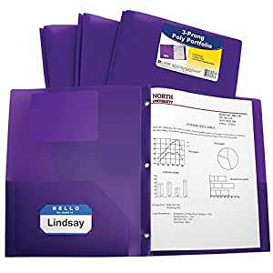 C-Line Two-Pocket Heavyweight Poly Portfolio with Prongs, For Letter Size Papers, Includes Business Card Slot, 1 Case of 25 Portfolios, Purple (33969)