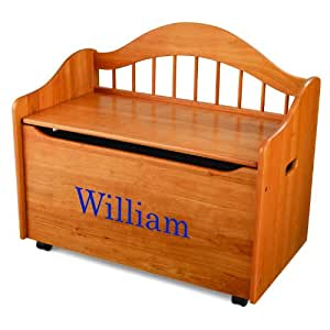 KidKraft Personalized Limited Edition Toy Box-Honey With Blue Library Font,William