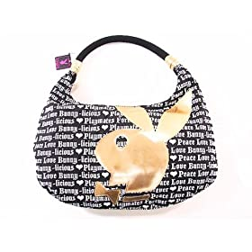 Playboy Handbag Black Gold Slouchy Hobo J553500