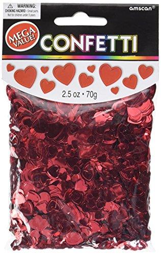 Amscan Metallic Hearts Confetti, 2.5 oz., Red