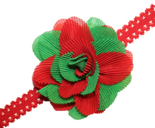 Webb Direct 2U Baby-Girls Two Tone Crinkled Rose Stretch Headband Red Grn (5157) front-840719