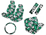 11 Piece Auto Interior Gift Set - Green Hawaiian Floral Aloha Print with Turtles and Geckos - A Set of 2 Seat Covers, 1 Rear Bench Cover, 1 Steering Wheel, and A Set of 2 Shoulder Belt Pads
