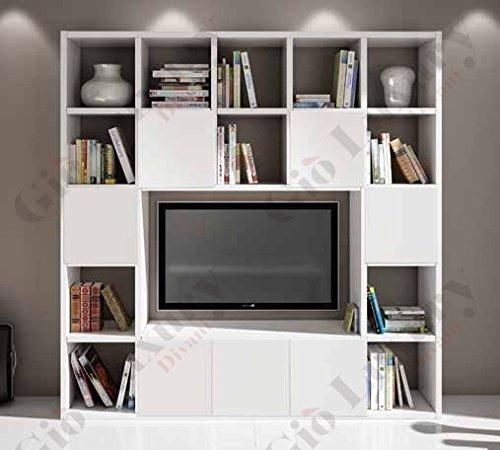 Set soggiorno composto da libreria porta tv bianco frassinato, stile moderno, in mdf laminato - Mis. 261 x 30 x 218