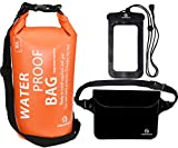 Freegrace防水ドライバッグ3セット-2つのジップロック&取り外し可能のショルダーストラップ付き、ウエストポーチ&携帯ケース - 水につけても大丈夫 - 水泳、カヤック、ラフティング、ボートに最適 (オレンジ, 10L)