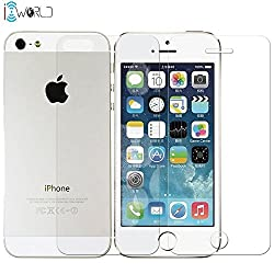 iconnect world phone 5/5S Front/Back Screen Protector Tempered Glass for all Mobile (iphone 5/5S Front/Back(Transparent)