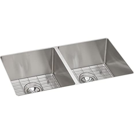 Elkay ECTRU31179DBG 18-Gauge Stainless Steel 31.5-Inch X 18.5-Inch X 9-Inch Double Bowl Undermount Kitchen Sink Kit, Polished Satin