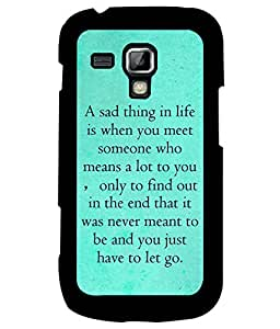 Fuson Premium Missing Quote Metal Printed with Hard Plastic Back Case Cover for Samsung Galaxy S Duos 2 S7582