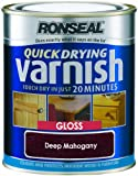 Ronseal QDVGDM750 750ml Quick Dry Varnish Coloured Gloss - Deep Mahogany