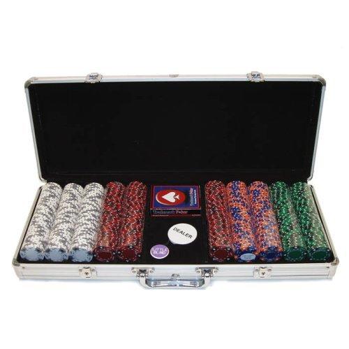 Trademark Poker 500 14-Gram 3 Color Ace-King Suited Poker Chip Set with Aluminum Case