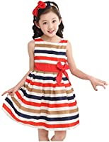 Little Girls Vest Striped Rainbow Dress Bows Princess Dress