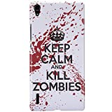 Huawei Ascend P7 Case - White / Red Hard Plastic (PC) Cover with Funny Keep Calm and Kill Zombies Design