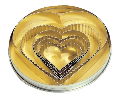 Fox Run 7-Piece Plain and Crinkled Heart Cookie Cutter Set