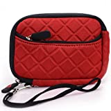 Red Quilted Neoprene Sleeve Carrying Case with Front Zipper Pocket for Disney Princess Digital Point & Shoot Camera + EnvyDeal Velcro Cable Tie