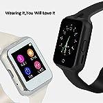 TURNMEON Smart Watch für Männer Frauen Smartwatch Android Samsung Apple iPhone 6 mit Sim / TF-Karten Herzfrequenz Text Temperaturfühler UV Herzfrequenzmesser für Smartphones (Schwarz)