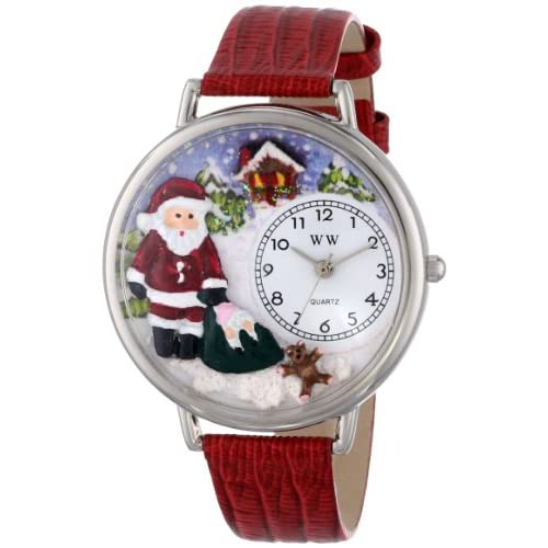Whimsical Watches Christmas Santa Claus Red Leather and Silvertone Unisex Quartz Watch with White Dial Analogue...