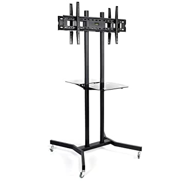Dual 2 Two TV Screen Floor Stand with Wheels, Back-to-Back Display