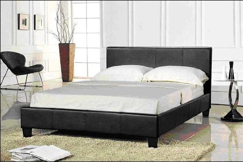 Prado Faux leather Double 4.6 Ft Bedstead in Brown Colour with foam Mattress