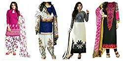 Sky Global Women's Printed Unstitched Regular Wear Salwar Suit Dress Material (Combo pack of 4)(SKY_Combo_332)(SKY_532_Pink)(SKY_518_Blue)(SKY_523_Black & White)(SKY_222_Multicolor)
