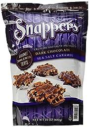 Snappers Crunchy and Salty and Sweet Dark Chocolate, Sea Salt Caramel, 24 Ounce