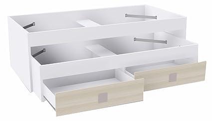 Lit double avec 2 tiroirs Blanc/Beige, 2040 x 1000 x 680 mm -PEGANE-
