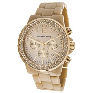 Michael Kors Women's MK5558 Beige Ceramic Quartz Watch with Mother-Of-Pearl Dial