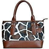 FASHs Giraffe Print Faux Leather Shoulder Tote Ladies Handbag-formal,casual Bag