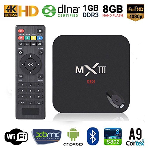 NPET MXIII MX3 Quad Core Amlogic S802 2G/8G Smart HTPC TV Box Support 3D-HD 4K Android 4.4.2 Miracast DLNA Airplay and 2.4/5GHz Dual Wifi Bluetooth 4.0 Update Online (Black)