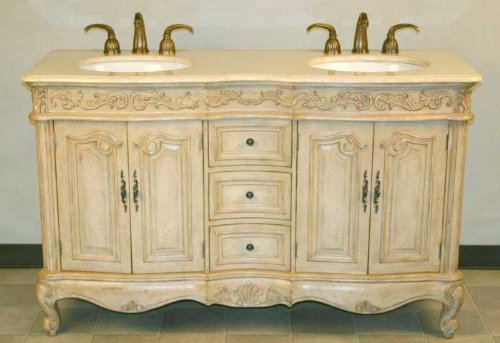 """Silkroad Exclusive HYP-0145-CM-UIC-58 Ella 58"""" Double Sink Cabinet with 4 Carved Doors 3 Drawers Cream Marfil Top Undermount Ivory Ceramic Sink (3-Hole) and Cabriole Legs in Distressed White Oak"""