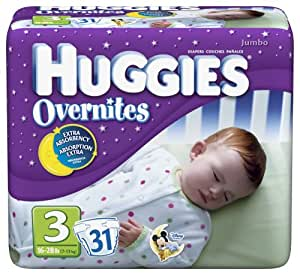 Huggies Overnites Diapers, Size 3, 31-Count Packages (Pack of 2)