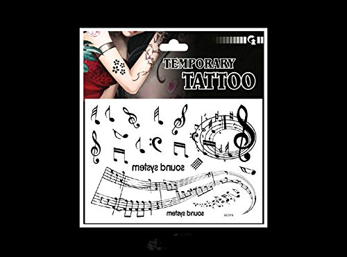 SYZ Beauty Waterproof Temporary Tattoos Note Temperament Stave Tattoos