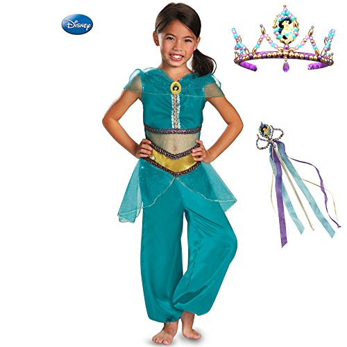 Disney Jasmine Sparkle Classic Kids Premium Costume Kit with Tiara and Wand