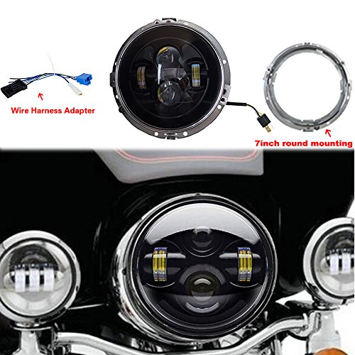 Jeep Wrangler Headlights LITE WAY 80W Black For Harley Davidson Motorcycle PROJECTOR DAYMAKER HID LED Light Bulb Kit Jeep Wrangler LED Headlamp With Ring Mounting Bracket and Wire Harness Adapter (Black Harley Davidson Headlight compare prices)