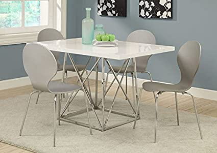 "GREY BENTWOOD / CHROME METAL 34""H DINING CHAIRS / 4PCS (SIZE: 17L X 20W X 34H)"