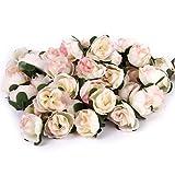 【ノーブランド品】ローズ バラ 造花 花部分のみ 花びら 花ヘッド 結婚式 3cm 約50個 全6色(ライトピンク)