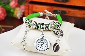 Fashion Women Ladies Heart Alloy Weave Rope Elegant Bracelet Quartz Jewelry Watch Green